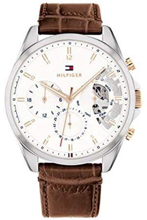 Tommy Hilfiger Herren Analog Quarz Uhr mit Leder Armband 1710450