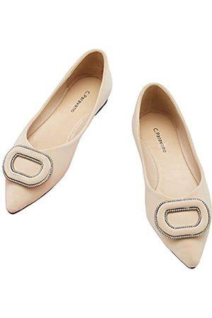 C.PARAVANO Pumps I Schuhe Damen Ivory I Flache Schuhe für Damen I Schuhe Damen I Pumps Flach I Spitze Flache Schuhe I Damen Schuhe Elegant Flach(Größe 39