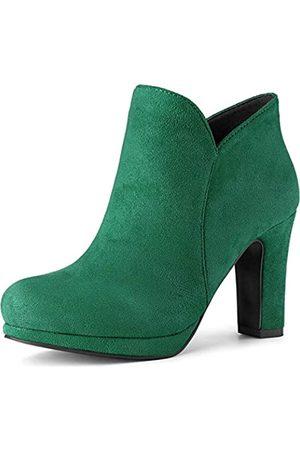 Allegra K Damen Stiefel mit rundem Zehenbereich, klobiger Absatz, knöchelhoch, (smaragdgrün)