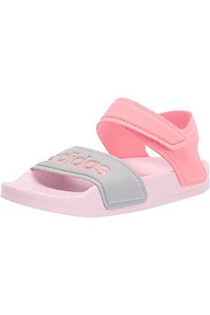 adidas AdiletteSandalSlidePink/SuperPop/SilverMetallic12USUnisexLittleKid