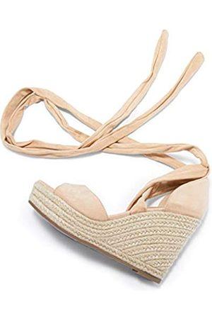 Seraih Damen Schnürschuhe Plateau Keilabsatz Sandalen Klassische Knöchelriemchen Schuhe, (nude)