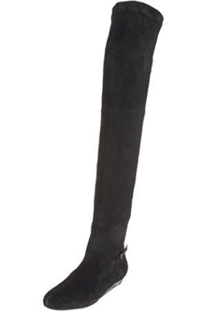 Robert Clergerie Damen Kent Overknee-Stiefel, Schwarz (schwarze Velourslederoptik (Stretch))