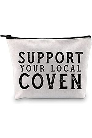 """GJTIM Kosmetiktasche mit Aufschrift """"Support Your Local Coven Witch Aesthetic Wicca Witchcraft Witch Gift Cosmetic Bag Makeup Bag"""