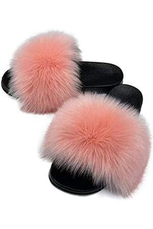 AuapTavw Damen Kunstpelz Slides Hausschuhe Flauschige Fuzzy Sandalen Pelz Slide Flip Flop Offene Zehen Indoor Outdoor, Pink (rose)