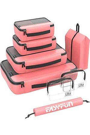 Easyfun Packwürfel für Koffer Reise 8 Set Kompression Packwürfel groß mit 2 Kulturbeutel und Schuhbeutel