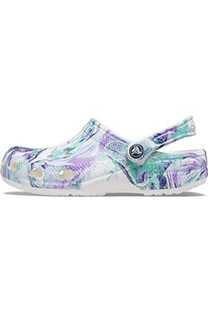 Crocs Unisex Adult Classic Tie Dye   Comfortable Slip on Water Shoes Clog, White/Orchid