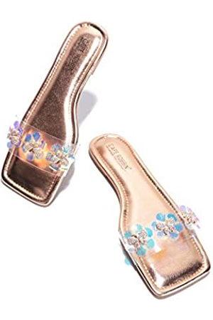 Cape Robbin Basto Jeweled Sandalen Hausschuhe Slides für Frauen, transparente Damen Pantoletten Slip On Schuhe, Pink (rose )
