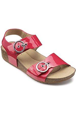 Hotter Damen Tourist Kork-Sandale Leder Schnalle Verschluss Erwachsene Sandalen Reise Schuh Sandale, Rot (korallenrot)