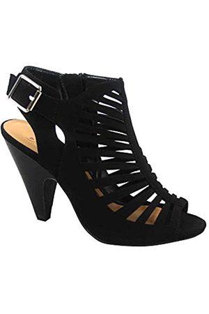 Generic FZ-Shaky-s Damen Sexy Riemchen Peep Toe Slingback Schnalle Chunky Heel Sandalen Schuhe