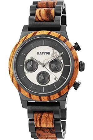 Raptor Herren Uhren - Herren-Holzuhr Chronograph Edelstahl Datum Anzeige Analog Quarz RA20231 (Zebraholz)