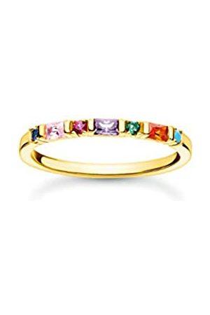 Thomas Sabo Ring mit mehrfarbigen Zirkonia Steinen in Rund- und Baguette-Schliff, 750 Vergoldung, 925 Sterlingsilber, Ringgröße 52