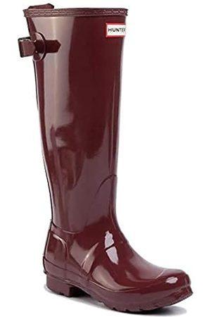 Hunter Original Back Adjustable Gloss Ladies Rumbling Red Shoes Size 5