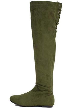 Nature Breeze Damen Stretchy Oberschenkel Hohe Stiefel, (Olive-40)