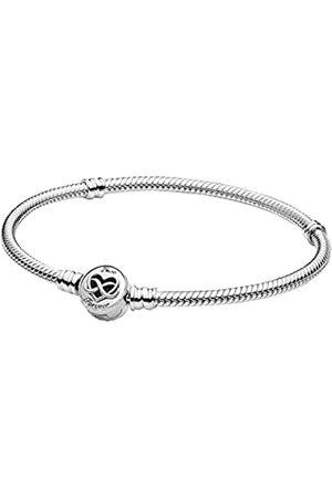 PANDORA Moments-Schlangen Gliederarmband mit Herz-Unendlichkeit-Verschluss, Sterling, 20cm