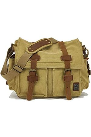 Sechunk Vintage Military Leather Canvas Laptop Bag Messenger Bags Medium (small-13'')
