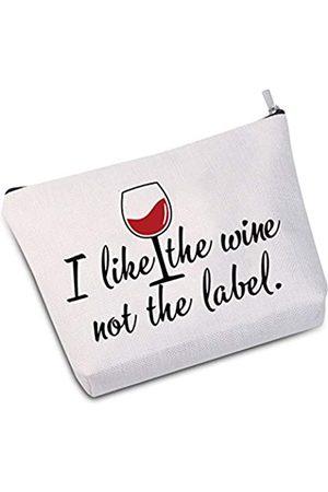 "JXGZSO Kosmetiktasche mit Aufschrift ""I Like The Wine Not The Label"""