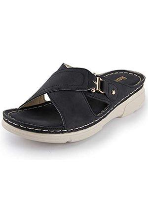 ALEXIS Damen-Sandalen mit offenem Zehenbereich, Kreuzriemen, bequeme Einlegesohle, zum Reinschlüpfen