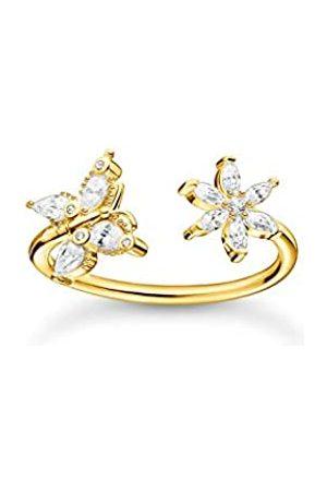 Thomas Sabo Offener Ring in, Schmetterling und Blüte mit Zirkonia Steinen, 750 vergoldung, 925 Sterlingsilber, Ringgröße 52