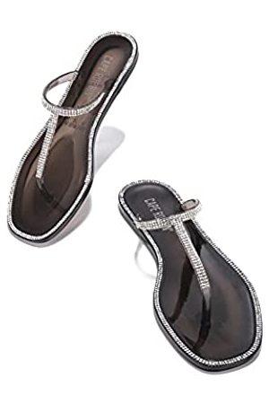 Cape Robbin Raffinierte Jelly Flip Flops Sandalen für Frauen, T-Strap flache Slides Damen Pantoletten Slip On Schuhe, (smoke)