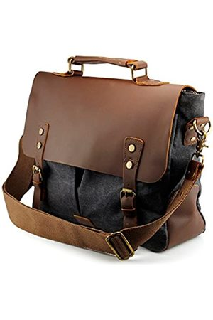 GEARONIC TM Herren Vintage Canvas Leder Kuriertasche Schultasche Militär Schultertasche Reisetasche für Notebook Laptop MacBook 11 und 13 Zoll Air Pro
