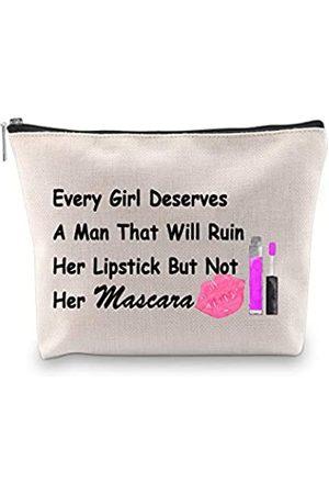 "PXTIDY Kosmetiktasche für Damen, mit Aufschrift ""Every Girl Deserves A Man Who Will Ruin Her Lipstick Not Her Mascara"""