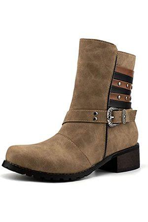 100FIXEO Damen-Stiefel, mittelhoch, mit Schnalle, Riemen, seitlicher Reißverschluss, mittelhoher Absatz, mandelförmiger Zehenbereich, Beige (khaki)