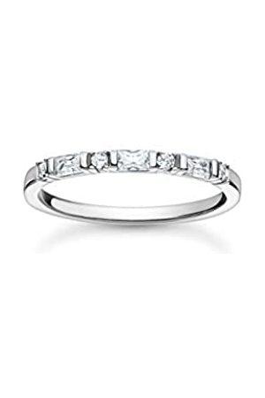 Thomas Sabo Schmaler Ring mit Zirkonia Steinen in Rund- und Baguette-Schliff, 925 Sterlingsilber, Ringgröße 56