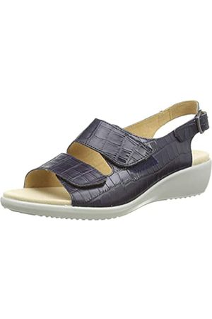 Hotter Damen Easy II Sandale, Marineblau Krokodilleder-Optik