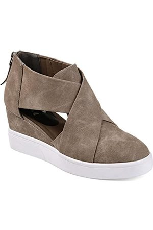 Journee Collection Damen Athleisure Criss Cross D'Orsay Sneaker Wedges, (taupe)