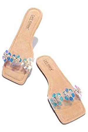 Cape Robbin Basto Jeweled Sandalen Hausschuhe Slides für Frauen, transparente Damen Pantoletten Slip On Schuhe, Braun (nude)