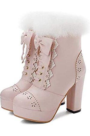 Elyffany Lolita-Schuhe für Damen mit hohem Absatz, aus Polyurethan, zum Schnüren, mit Schleife, knöchelhoch, Pink (rose)