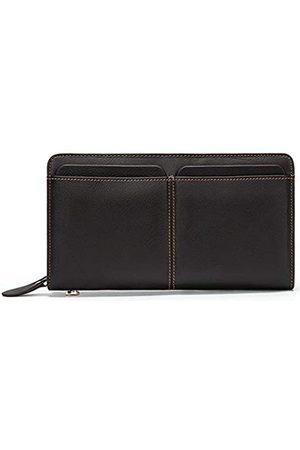 dong+ Herren Geldbörse aus Leder, mit Reißverschluss, Echtleder, Clutch, Handtasche, Organizer, Scheckbuch