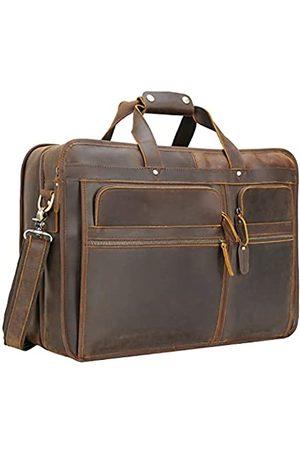 compalo Aktentasche für Herren, 18,5 Zoll (47 cm), Vollnarbenleder, Aktentasche, Kuriertasche für Herren, passend für Laptops mit 17,3 Zoll (43