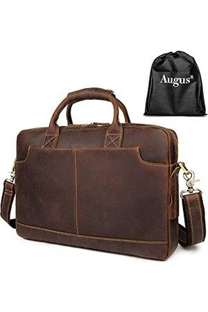 Augus Laptop-Tasche für Herren, Leder, wasserdicht, für Reisen, Kuriertasche, 15,6 Zoll (39