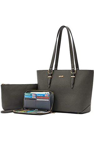 Qiyuer Geldbörsen und Geldbörsen-Set für Damen, Handtasche, Schultertasche, Tragegriff oben, Handtasche mit passender Geldbörse, (3 Stück/Set dunkelgrau)