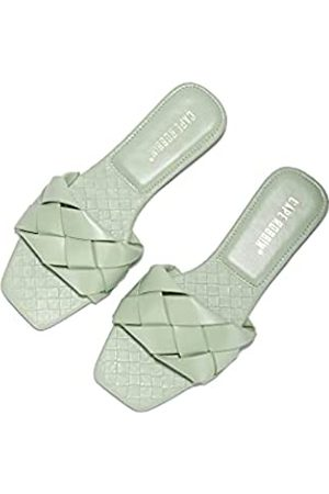 Cape Robbin Deja Sandalen Slides für Damen, gewebte Damenpantoletten, Schlupfschuhe, Grün (graugrün)