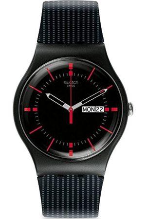 Swatch Herren Uhren - HerrenAnalogQuarzUhrmitSilikonArmbandSUOB714