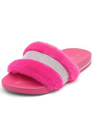 Shoe Land SL-Best Wishes Damen Fashion Strass Glitzer Slip On Pantoletten Sommer Schuh Plateau Fußbett Sandalen Hausschuhe, Pink (fuchsia)