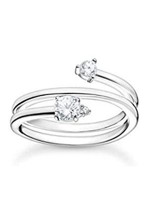 Thomas Sabo Ring in, Spiralförmig mit Zirkonia Steinen im Claw und French Setting an den Enden, 925 Sterlingsilber, Ringgröße 52