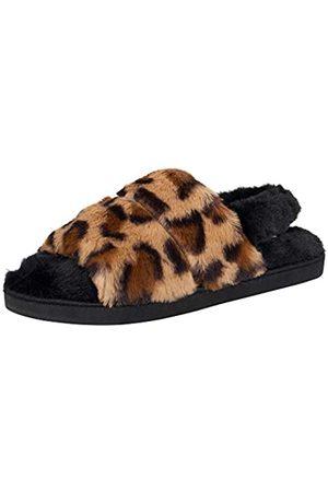 Jessica Simpson Damen Plush Faux Fur Fuzzy Slide On Open Toe with Elastic Backstrap Slipper