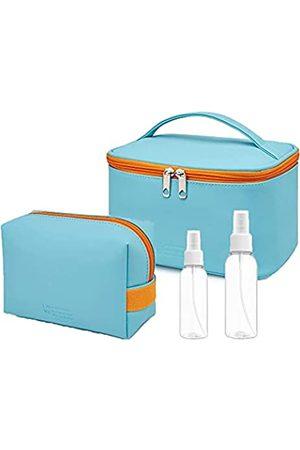 Generic 2 wasserdichte Make-up-Tasche, 2 leere Sprühflaschen, Kosmetiktasche, PU-Leder, multifunktional, Make-up-Tasche, Reisetasche