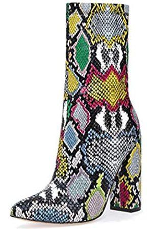 Peatutoori Damen-Stiefeletten, spitzer Zehenbereich, Winterstiefel, hoher Absatz, Blocks, wadenhoch, seitlicher Reißverschluss, (Colorsnake)