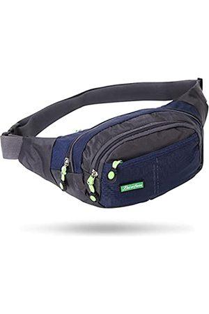 Xuuza Workout-Hüfttasche, Laufgürtel, Bauchtasche für Sport, Reisen, leicht, freihändig, Geldbörse, Crossbody-Tasche, verstellbarer Riemen, 4 Reißverschlusstaschen