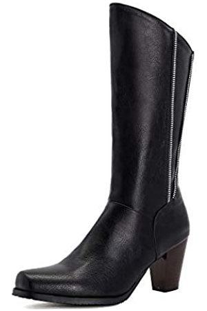 100FIXEO Stiefel mit Blockabsatz und hohem Absatz mit Reißverschluss, quadratischer Zehenpartie, wadenhoch
