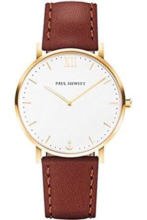Paul Hewitt Armbanduhr Männer Edelstahl Sailor Line White Sand - Herren Uhr Lederarmband , Herren Armbanduhr