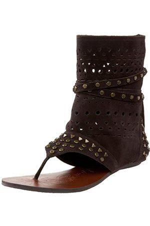 NAUGHTY MONKEY Flash Dash Damen Knöchelhohe Sandalen mit Nieten, Braun (Schokoladenbraun)