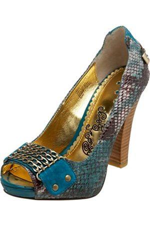 NAUGHTY MONKEY Damen Baumwollschwanz Leder Pumps, Blau (blaugrün)