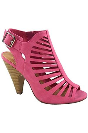 Generic FZ-Shaky-s Damen Sexy Riemchen Peep Toe Slingback Schnalle Chunky Heel Sandalen Schuhe, Violett (fuchsia)