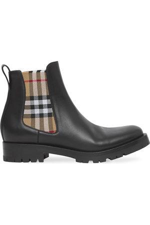 Burberry Chelsea-Boots mit kariertem Einsatz