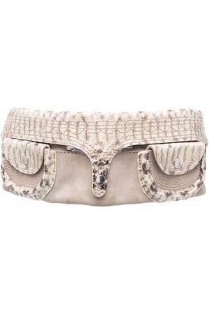 Gianfranco Ferré 2000s detachable pockets snakeskin effect belt - Nude